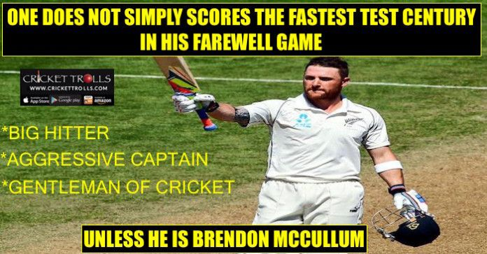 #NZvsAUS #TestMatch #ThankYouBazz #BrendonMcCullum  Take a bow Brendon McCullum  http://www.crickettrolls.com/2016/02/20/brendon-mccullum-creates-history-in-his-farewell-match/