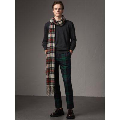 Pull en laine mérinos avec éléments à motif check (Anthracite) - Homme   Burberry