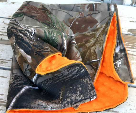 realtree and orange minky car seat blanket by SqueakyBugBabies, $18.00
