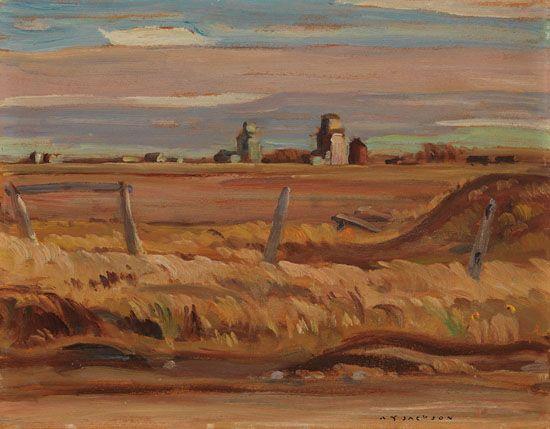 A.Y. Jackson - Alberta Farm 10.625 x 13.5 Double sided Oil on board