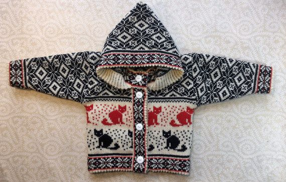 Trendy winter cardigan for children with cat pattern by LanaNere