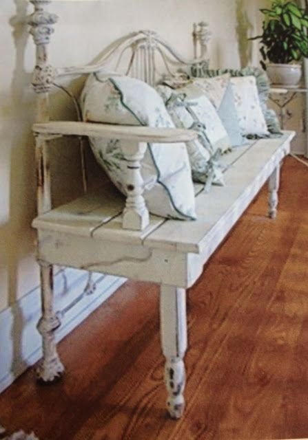 DIY Repurposed Metal Headboard Bench - Southern Revivals