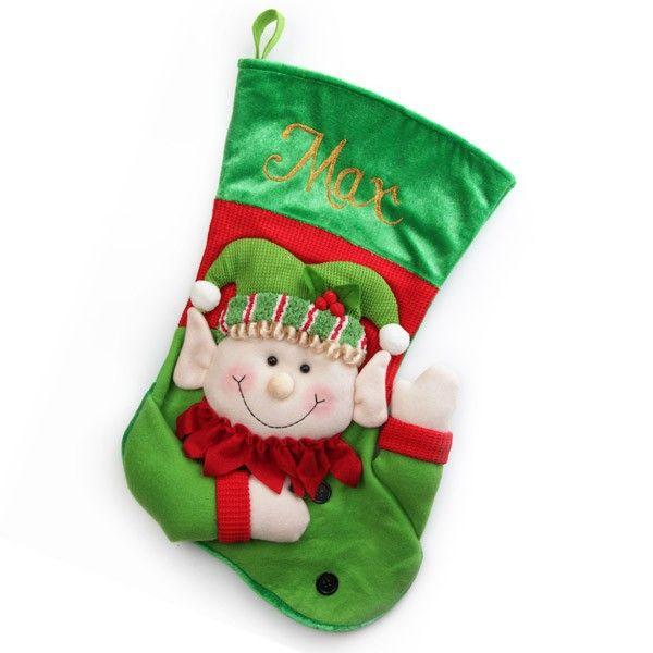 Personalised Stocking   3D Elf Christmas Stocking