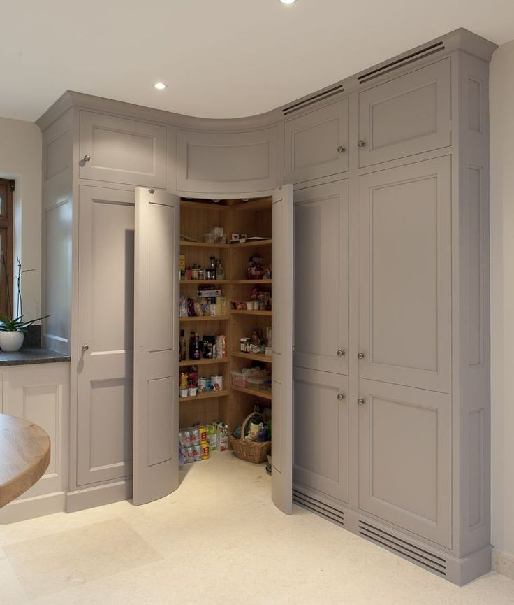 Corner pantry with convex curved doors - grey kitchen cabinets - Bespoke Interiors