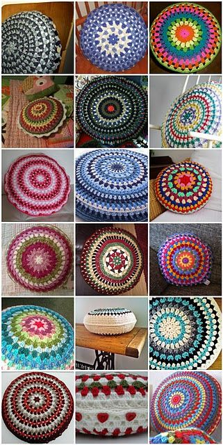 Gorgeous granny circle cushions, make one for the rocking chair.