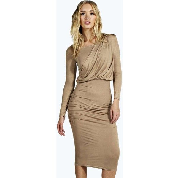 Boohoo Sana Drape Shoulder Midi Dress (£17) ❤ liked on Polyvore featuring dresses, camel, night out dresses, t shirt dress, bodycon dress, going out dresses and shift dress