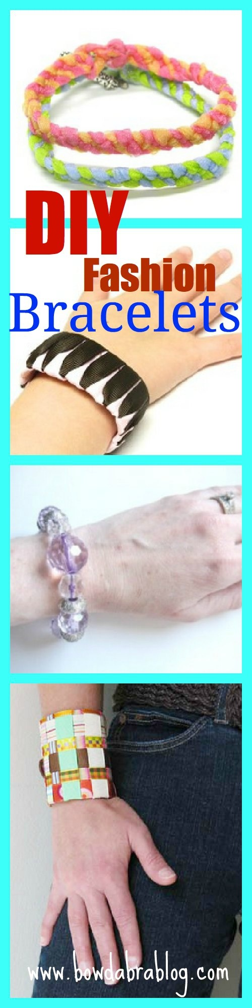 Fashion DIY Bracelets- fun variety http://bowdabrablog.com/2012/06/18/summer-fashions-matching-beaded-ribbon-necklace-and-bracelet/