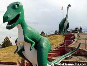 Dinosaur Park, Rapid City SD  Tyannosaurus Rex and Brontosaurus.