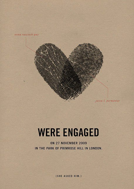 love this creative engagement announcement! using two fingerprints to make a heart symbolizing the union of marriage