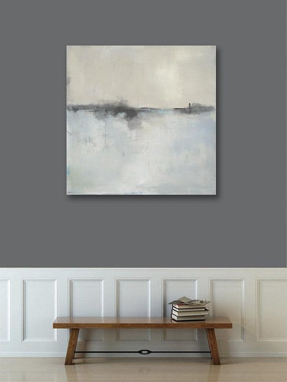 Large Framed Wall Art Abstract Landscape Art, Canvas Print, 36x36 ...