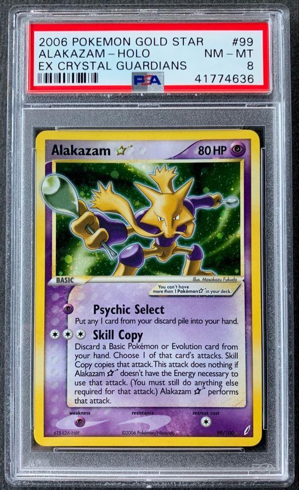 2006 Pokemon Card Alakazam Gold Star EX Crystal Guardians 99 100 PSA 8 NM MT