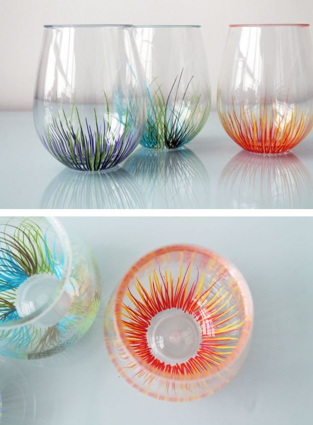 DIY Firework Glassware. Click through for the tutorial! :: different designs <3