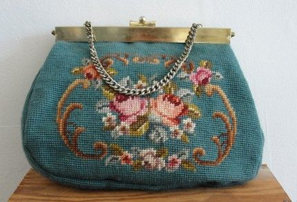 Vintage needle point bag
