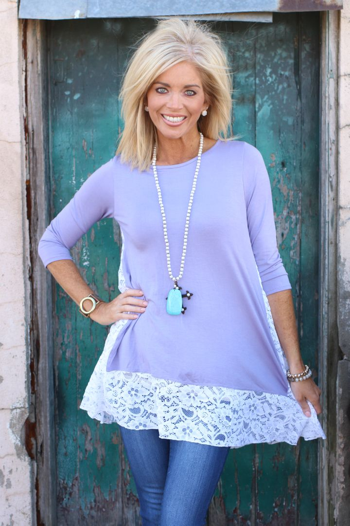 One Faith Boutique - One Lucky Lady Lace Contrast Tunic ~ Lavender ~ Sizes 4-12, $36.00 (https://www.onefaithboutique.com/new-arrivals/one-lucky-lady-lace-contrast-tunic-lavender-sizes-4-12/)