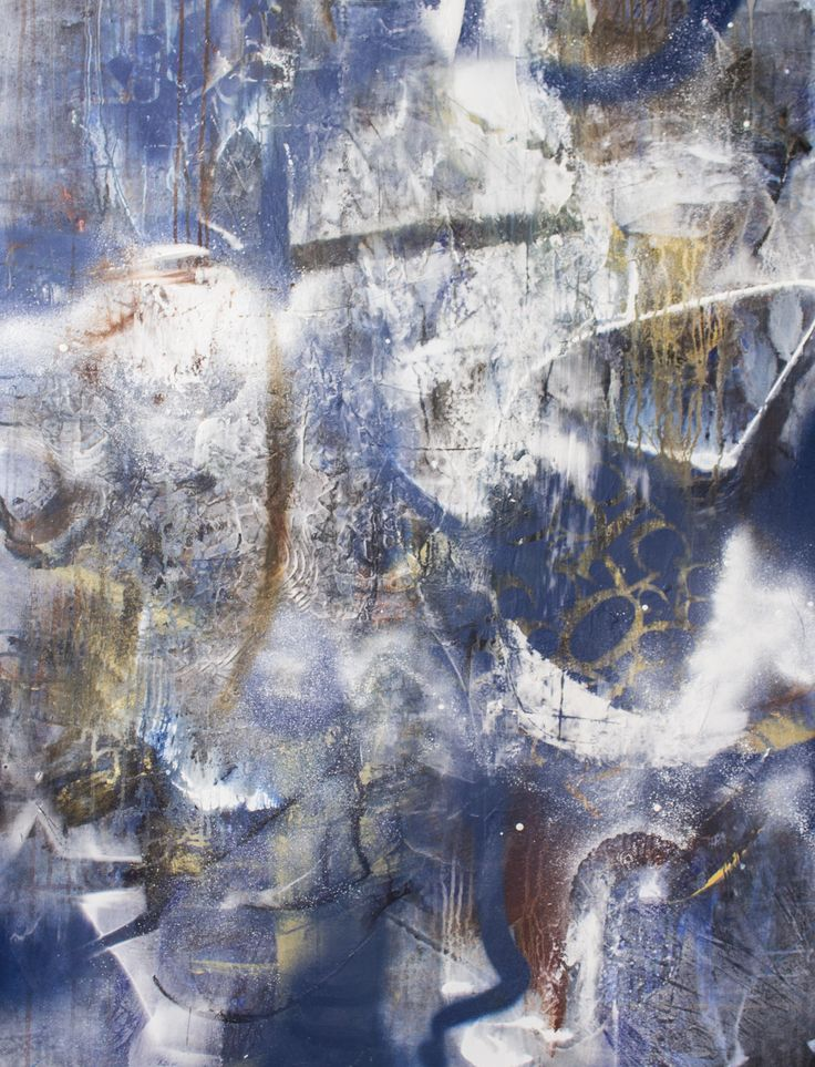 Blue, gold, earth tones, abstract, mixed media original painting on canvas by Jackie Gray.