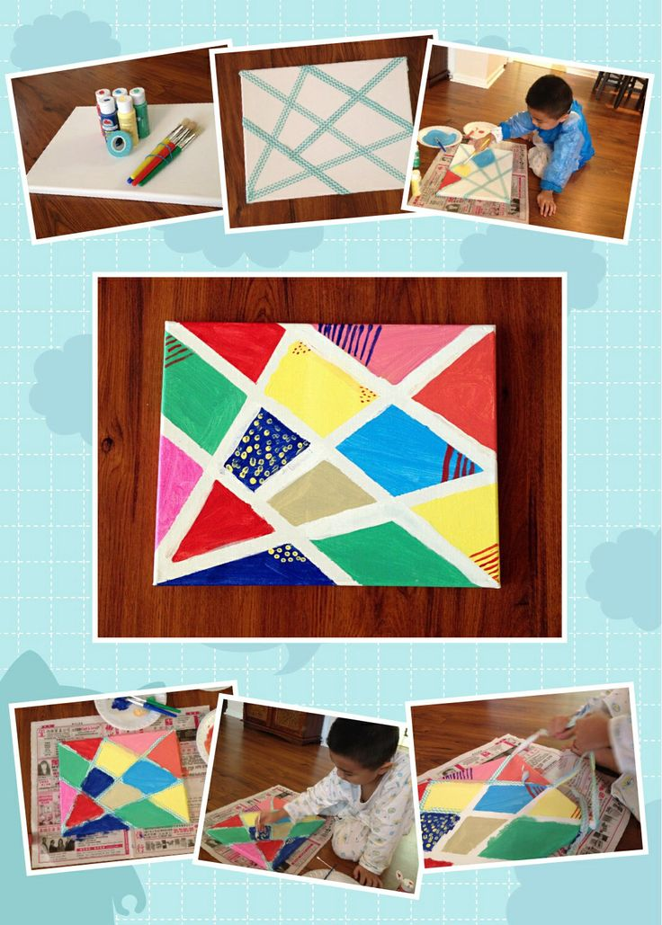 Kid's canvas painting! Super easy and very artistic:)