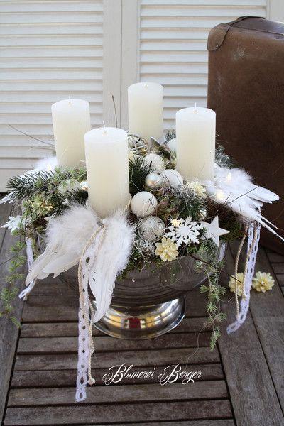 Adventskranz - :::: Beleuchteter Weihnachtlicher Sektkühler :::: - ein Designerstück von BlumereiBerger bei DaWanda