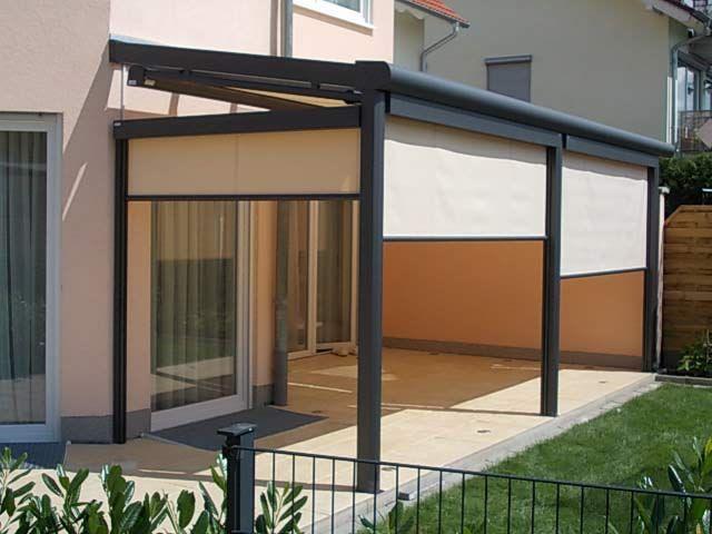 k d berdachung f r eine terrasse mit seitenteilen und. Black Bedroom Furniture Sets. Home Design Ideas