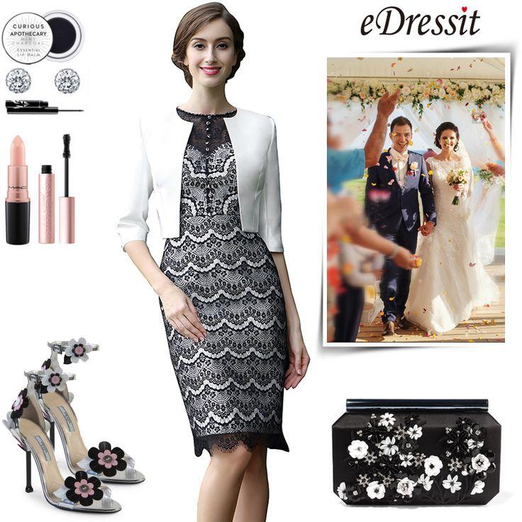 [EUR 135,99] eDressit Schwarz Weiß Knielang Kleid für die Brautmutter  (26170900). Longue Robe de Soirée