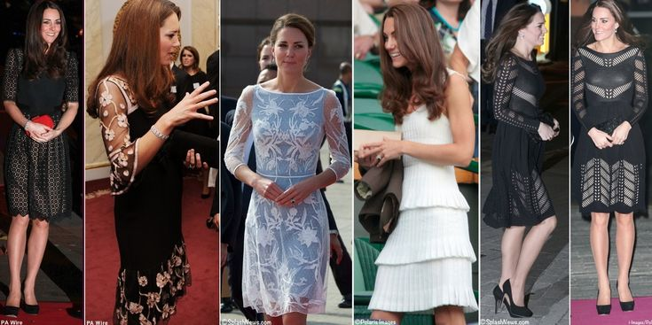we see the Duchess in several styles by the designer (l to r): the 'Templeton' dress worn to the 2013 SportsBall; a bespoke version of ALICE by Temperley's 'Esmeralda' dress worn for a Team GB reception at Buckingham Palace; the much-loved blue and white dress seen at high tea in Kuala Lumpur during the 2012 Jubilee Tour; the white 'Moriah' frock seen at Wimbledon in June of 2011; and the somewhat controversial 'Emblem Flare' dress worn to last fall's Action on Addiction Autumn Gala.