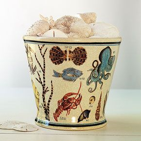 "By the Beautiful Sea. With a nod to the immense diversity it recorded, this handsome Sea Life Cachepot is hand-painted with a selection of beautifully rendered specimens. Glazed porcelain with textured finish. For indoor or outdoor use.  				  				 6.375""h. x 7""dia."