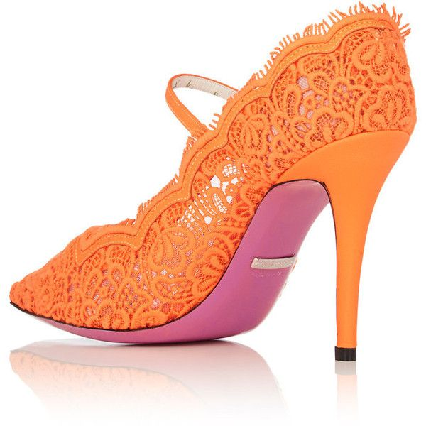 Gucci Women's Virginia Lace Mary Jane Pumps ($980) ❤ liked on Polyvore featuring shoes, pumps, mary jane pumps, high heel mary janes, neon pumps, high heeled footwear and orange pumps