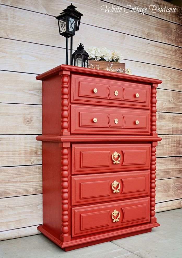 Hometalk :: Meet Lola - Calient Red Dresser Before & After
