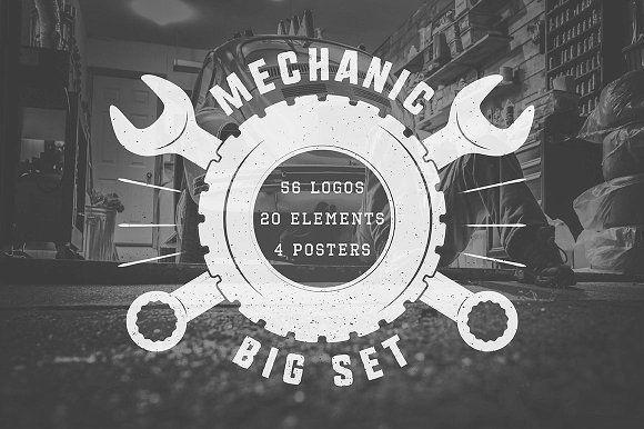 Set of vintage mechanic logos by AkimD on @creativemarket