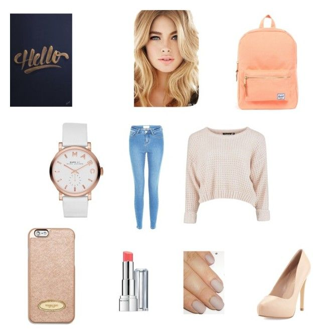 """""""Feeling Peachy - Inspired by Isabella"""" by stephaniejs-1 on Polyvore featuring Marc by Marc Jacobs, Herschel Supply Co., Charles by Charles David, Revlon and MICHAEL Michael Kors"""