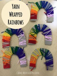 Materials Red, Orange, Yellow, Green, Blue, Purple, Pink Yarn Cardboard cut into a rainbow shape This is a simple and easy fine motor art project. First, I cut a rainbow shape out of cardboard for each child. Then, they were given a piece of yarn in each color. I tied the first piece on and …