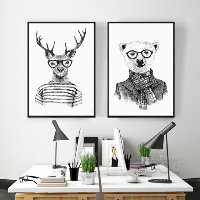 € 4,23 - 10,42 - Hand draw Animals Canvas Art Print Poster, Deer And Polar Bear Set Wall Pictures for Home Decoration, Giclee Wall Decor