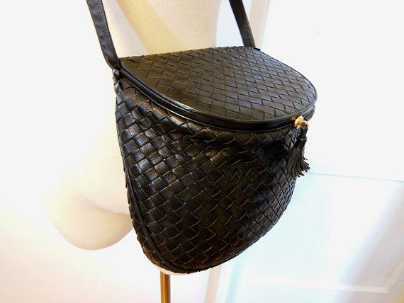 1970s purse / Vintage 70's Bottega Veneta Intrecciato Black Cross Body Handbag