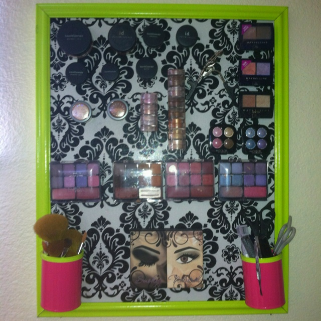 Finally made a magnetic makeup bored! Love it! A couple tips, make sure the frame is a good frame. The one I got at the thrift store was a little banged up and paint didn't hide that. Second, Have the hardware store cut the metal. Last tip, have an awesome helpful husband who doesn't mind helping with your girly project!