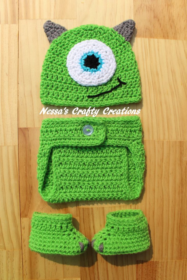 Crochet Monster Set, Crochet Mike Wazowski inspired Monsters Inc outfit, Crochet Mike hat, Crochet diaper cover, Crochet baby booties, Baby by NessasCraftyCreation on Etsy