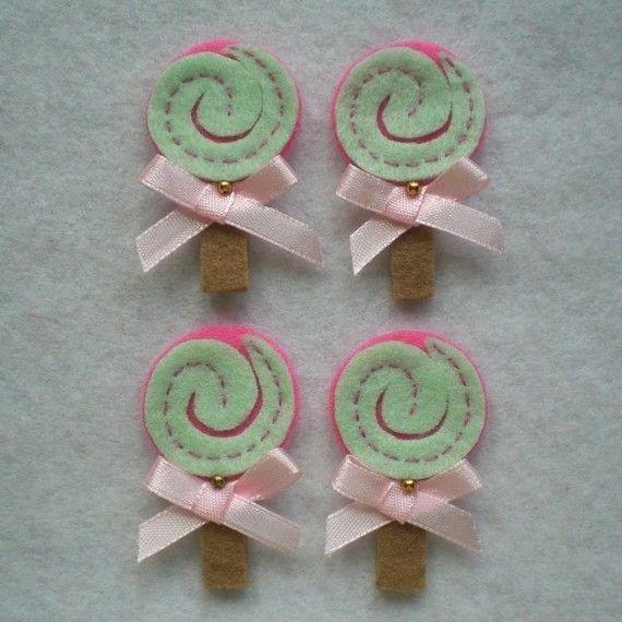 Lollipop Felt Applique (Mint Green with Dark Pink Background) - Set of 4 pcs