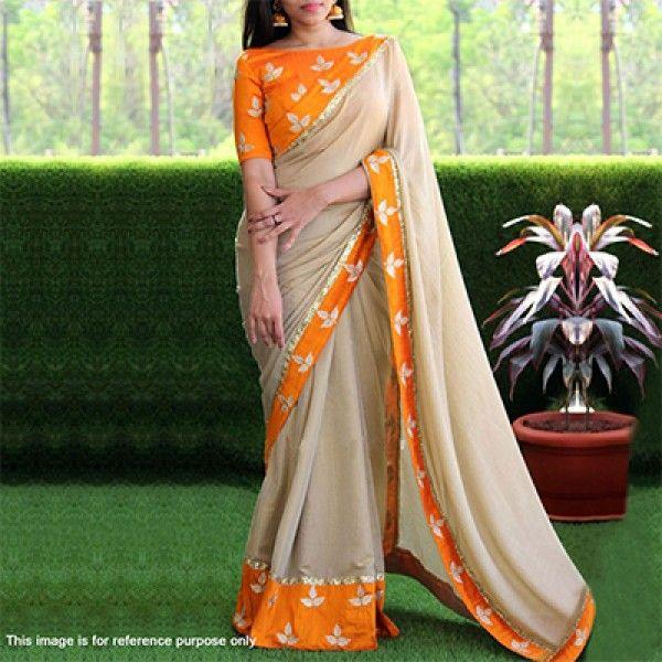 Beige - Orange Chanderi Cotton Saree With Floral Design