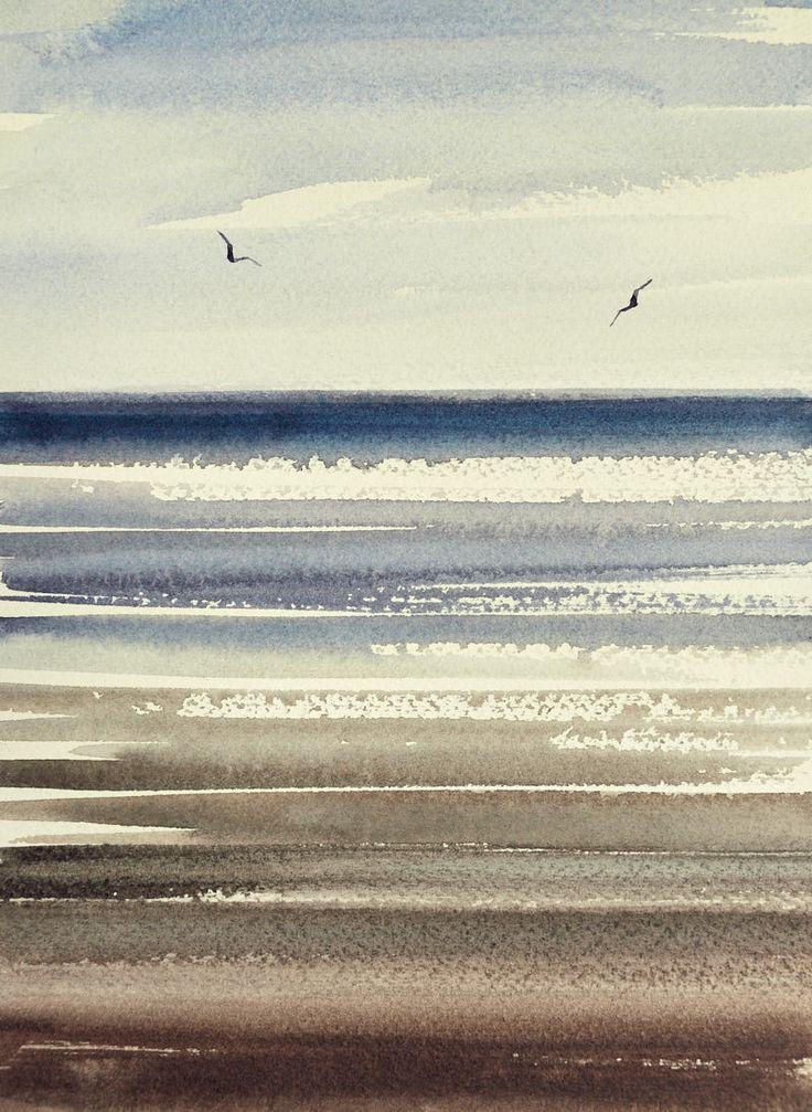Watercolour Painting Shoreline, St Annes-on-sea beach | Timothy Gent Fine Art Ga…