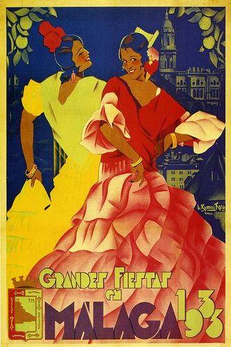 Grandes fiestas en Málaga 1933 :: #Spain Fashion Girls Dance 1933 Travel #Tourism #Vintage #Poster