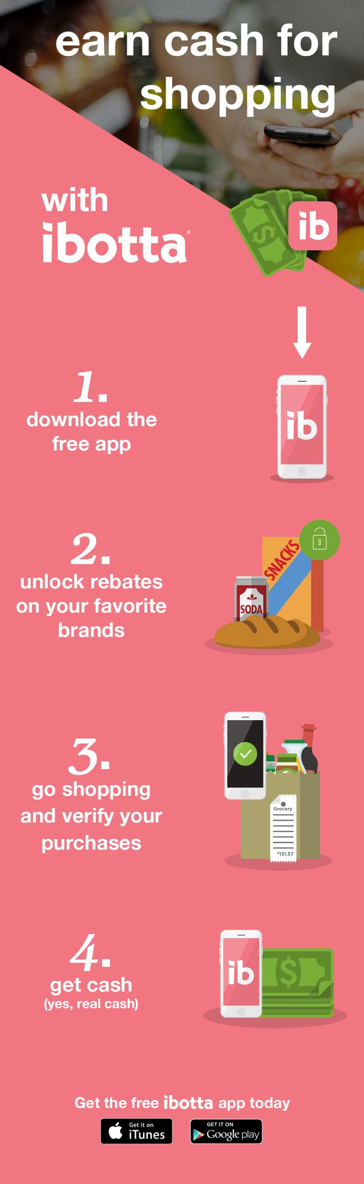 """Install the free Ibotta app and get an extra $10 when you register with referral code, """"Pinterest"""""""