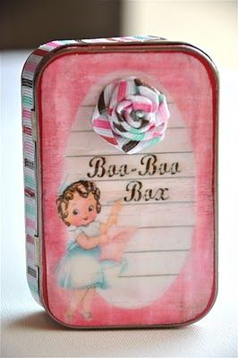 """too cute, diy """"boo-boo box"""" out of an altoid tin.  also great for vintage printable valentines."""