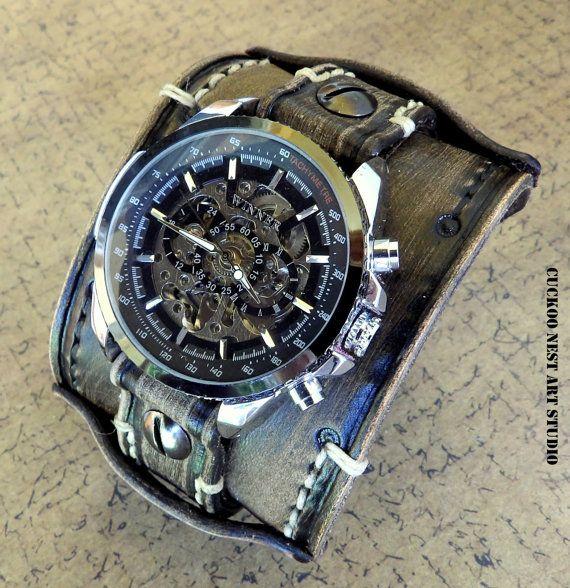 Distressed black wrist watch Skeleton watch by CuckooNestArtStudio