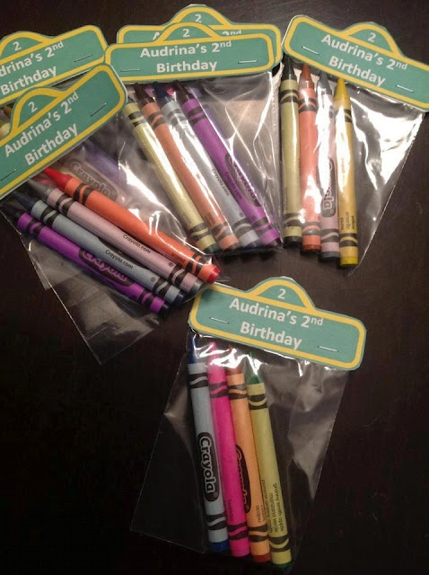 Crayons to go with the personalised colouring book (with a personalised topper )