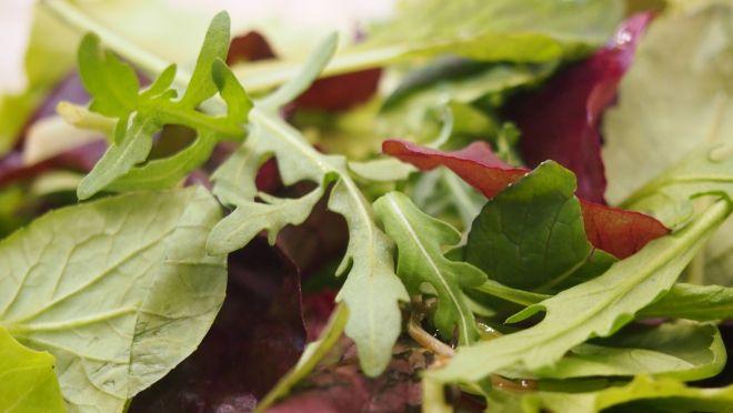 Vuohenjuusto-lohisalaatti grillattulla parsalla