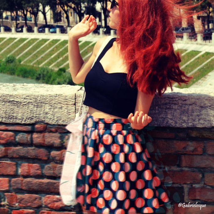 Polka dots. Girl in Italy, Redhead