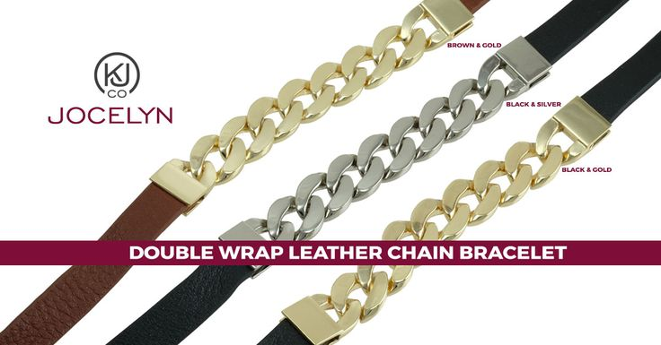 Jocelyn – Double Wrap Leather Chain Bracelet – These bracelets make the perfect layering piece or a sensational standalone, either way; they are the ideal addition to any jewelry collection. Wear it to the office for a stylish, carefree look or casually for a more relaxed put-together look. At work or play, these double wrap genuine leather bracelets are the perfect addition to any women's wardrobe!