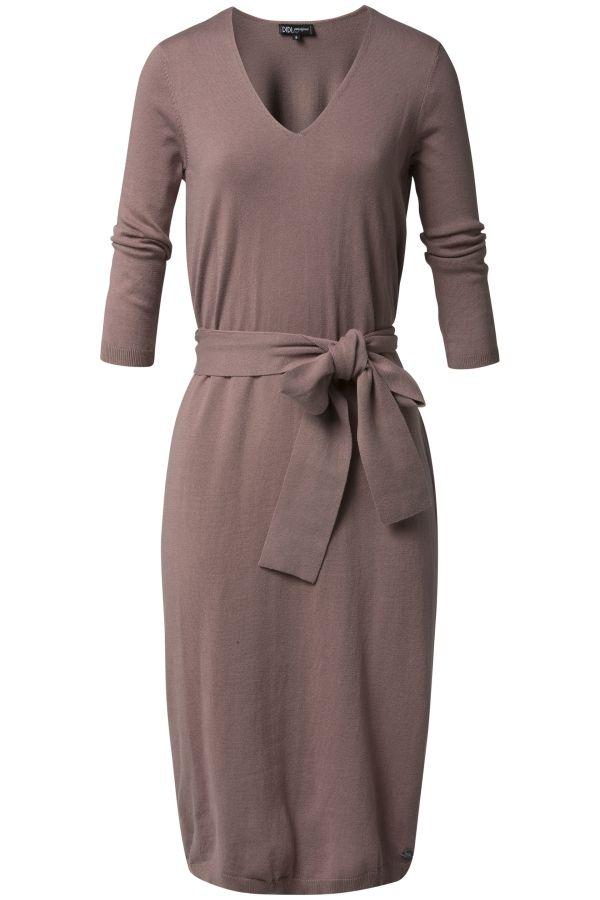 Zacht gebreide jurk met strikceintuur Oudroze