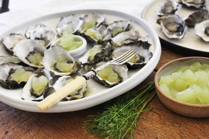 Oysters with Cucumber and Verjuice Jelly - Maggie Beer