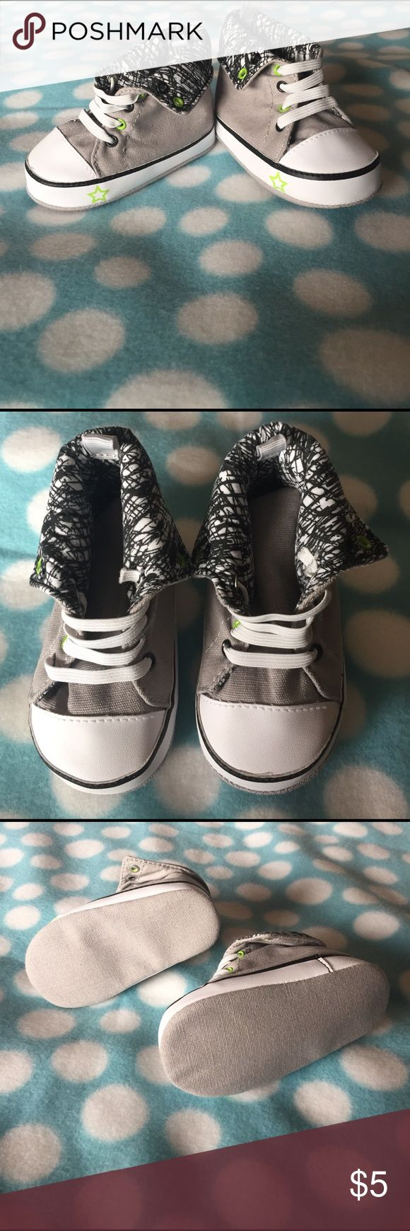 9-12 month converse style crib shoes They are not converse brand, but they resemble the style. Never worn has lime green and black detailing  with a gray canvas. Flip down high-tops. super cute just never got around to having him wear them. stepping stones Shoes Baby & Walker