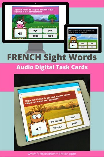 French Sight Words Digital Task Cards BUNDLE: this bundle of Boom cards play on modern browsers (released in the last three years) on interactive whiteboards, computers and tablets. Boom Cards apps are also available. The bundle includes 200 French sight words!