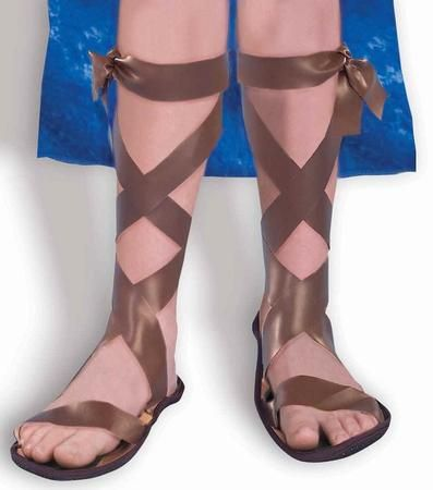 These Child's Roman Sandles are the perfect costume accessory to a Halloween costume! Our Roman sandles are brown, come in a child's medium (1.3), and are just what you need to complete the Roman Centurion, Roman Soldier, Jesus Christ, or other ancient and biblical character costume! Additional Roman costume accessories are available and sold separately.